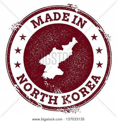 Korea, Democratic People's Republic Of Vector Seal. Vintage Country Map Stamp. Grunge Rubber Stamp W