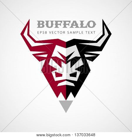 Vector logo with buffalo head in front view. Eps8. RGB. Global colors