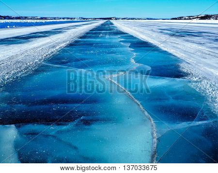 Crossing Frozen Cracked Blue Dettah Ice Road