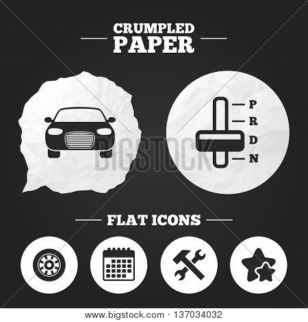 Crumpled paper speech bubble. Transport icons. Car tachometer and automatic transmission symbols. Repair service tool with wheel sign. Paper button. Vector
