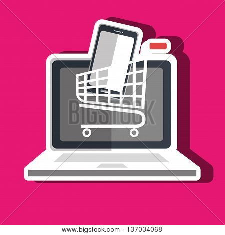 e-commerce from laptop isolated icon design, vector illustration  graphic
