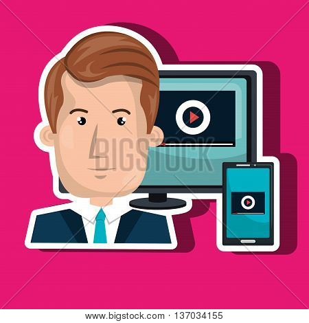 computer user office isolated icon design, vector illustration  graphic