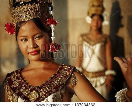 Beautiful Young Cambodian Dancer Concept