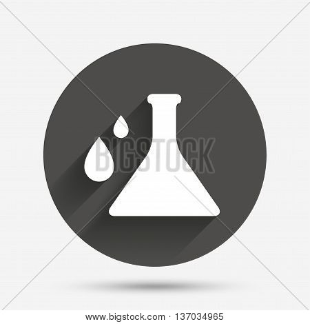 Chemistry sign icon. Bulb symbol with drops. Lab icon. Circle flat button with shadow. Vector