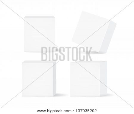 Vector white box collection isolated on white background. Ideal for mock up of packaging or other job.