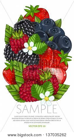 Set of berries mix vector isolated. Healthy eat. Strawberry, grapes, blackberry. Natural organic food. Ingredients for a vegetarian meal. Sweet and ripe summer berries.
