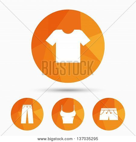 Clothes icons. T-shirt and pants with shorts signs. Swimming trunks symbol. Triangular low poly buttons with shadow. Vector