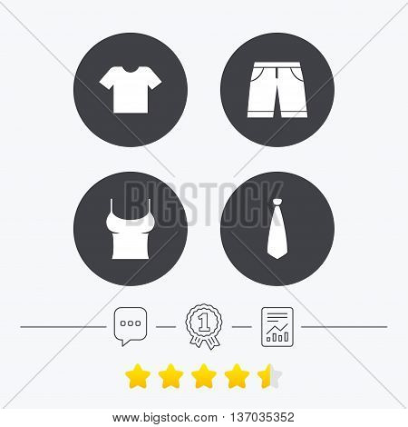 Clothes icons. T-shirt and bermuda shorts signs. Business tie symbol. Chat, award medal and report linear icons. Star vote ranking. Vector