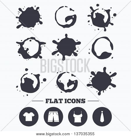 Paint, coffee or milk splash blots. Clothes icons. T-shirt and bermuda shorts signs. Business tie symbol. Smudges splashes drops. Vector