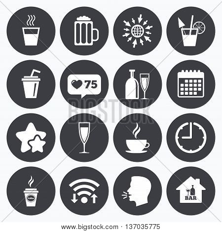 Calendar, wifi and clock symbols. Like counter, stars symbols. Cocktail, beer icons. Coffee and tea drinks. Soft and alcohol drinks symbols. Talking head, go to web symbols. Vector