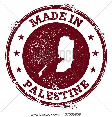 Palestine Vector Seal. Vintage Country Map Stamp. Grunge Rubber Stamp With Made In Palestine Text An