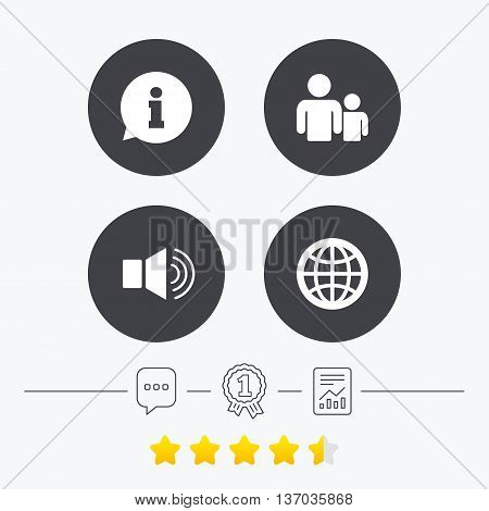Information sign. Group of people and speaker volume symbols. Internet globe sign. Communication icons. Chat, award medal and report linear icons. Star vote ranking. Vector