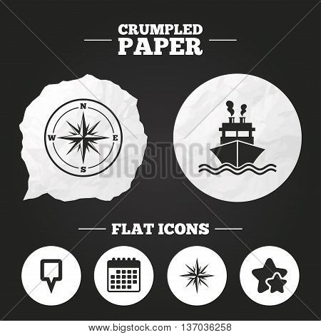 Crumpled paper speech bubble. Windrose navigation compass icons. Shipping delivery sign. Location map pointer symbol. Paper button. Vector
