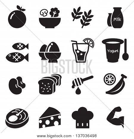 Healthy food & Diet food icons set Vector