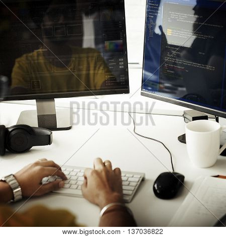 Programmer Working Computer Monitor HTML Concept