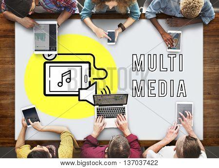 Podcast Digital Device Social Media Concept