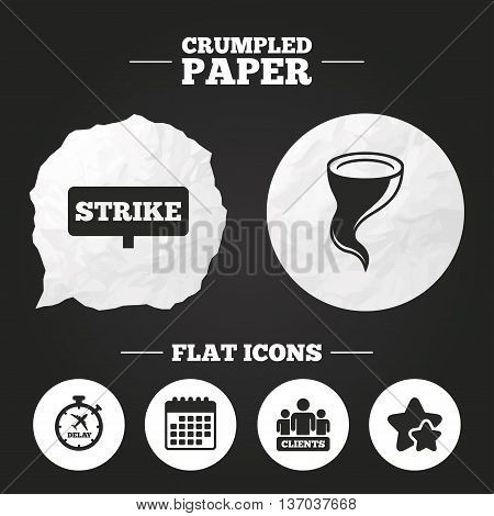 Crumpled paper speech bubble. Strike icon. Storm bad weather and group of people signs. Delayed flight symbol. Paper button. Vector