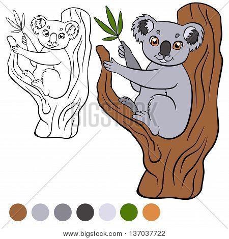 Coloring Page. Color Me: Koala. Little Cute Koala Sits On The Tr