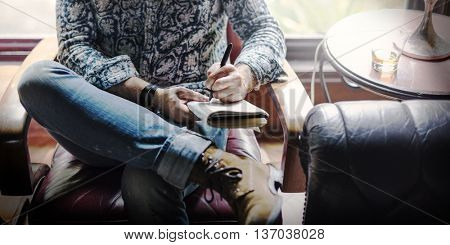 Writer Coffee Shop Leisure Relaxation Working Concept