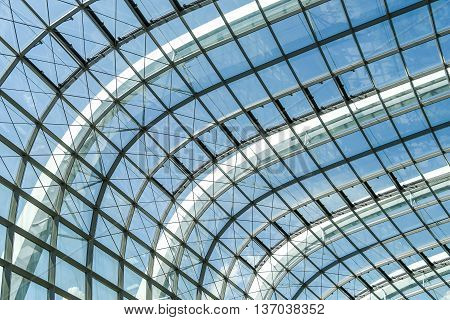 Abstract steel structure frame with glass facade of Rainforest Dome in Garden By the Bay Singapore