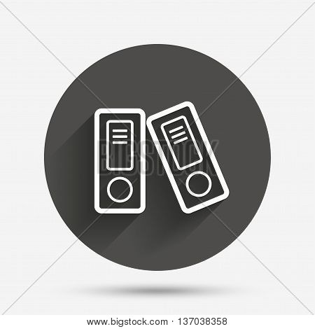 Document folder sign. Accounting binder symbol. Bookkeeping management. Circle flat button with shadow. Vector
