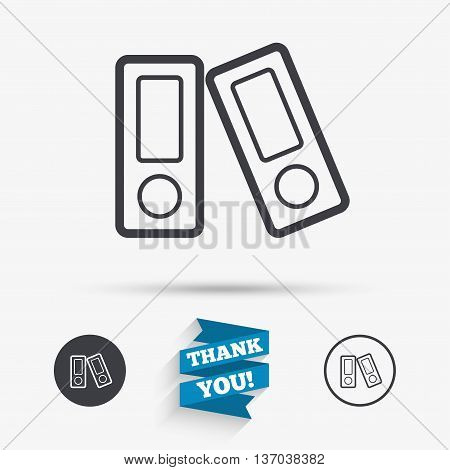Document folder sign. Accounting binder symbol. Bookkeeping management. Flat icons. Buttons with icons. Thank you ribbon. Vector