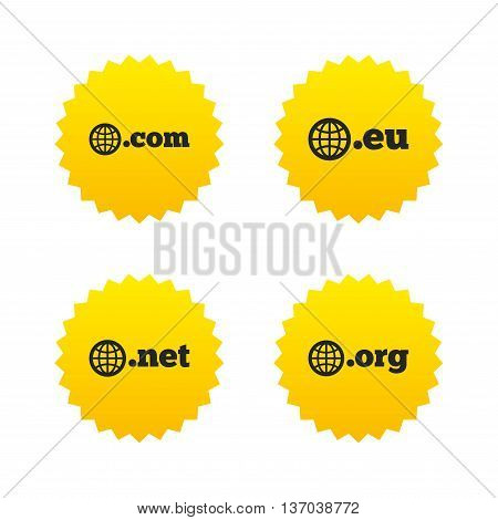 Top-level internet domain icons. Com, Eu, Net and Org symbols with globe. Unique DNS names. Yellow stars labels with flat icons. Vector