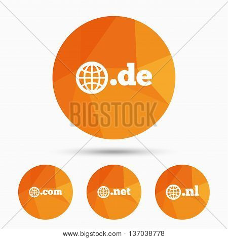 Top-level internet domain icons. De, Com, Net and Nl symbols with globe. Unique national DNS names. Triangular low poly buttons with shadow. Vector