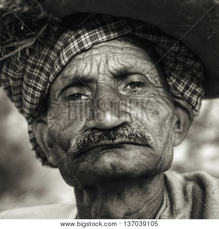 Indigenous Senior Indian Man Looking Grumpy Concept