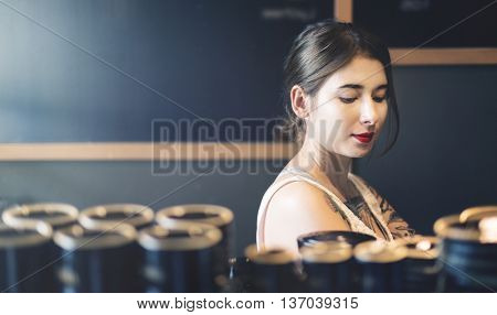 Woman Girl Coffee Shop Holidays Concept