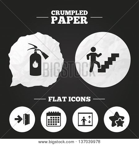 Crumpled paper speech bubble. Emergency exit icons. Fire extinguisher sign. Elevator or lift symbol. Fire exit through the stairwell. Paper button. Vector