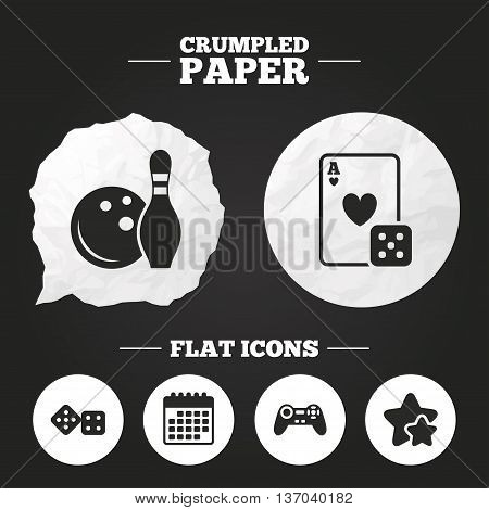 Crumpled paper speech bubble. Bowling and Casino icons. Video game joystick and playing card with dice symbols. Entertainment signs. Paper button. Vector