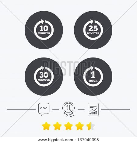 Every 10, 25, 30 minutes and 1 hour icons. Full rotation arrow symbols. Iterative process signs. Chat, award medal and report linear icons. Star vote ranking. Vector