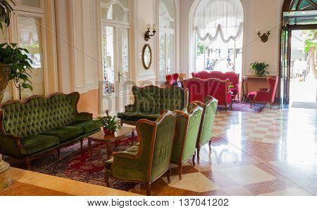 BELLAGIO, ITALY - JUNE, 12: Beautiful lounge room of classic hotel on june 12, 2016