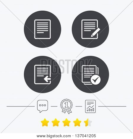 File document icons. Upload file symbol. Edit content with pencil sign. Select file with checkbox. Chat, award medal and report linear icons. Star vote ranking. Vector