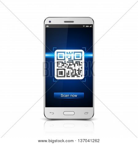 Smartphone scanned QR code on white background, vector