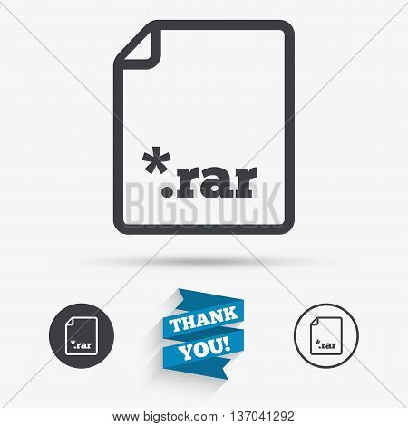 Archive file icon. Download compressed file button. RAR zipped file extension symbol. Flat icons. Buttons with icons. Thank you ribbon. Vector
