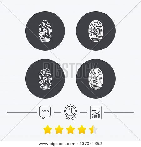 Fingerprint icons. Identification or authentication symbols. Biometric human dabs signs. Chat, award medal and report linear icons. Star vote ranking. Vector
