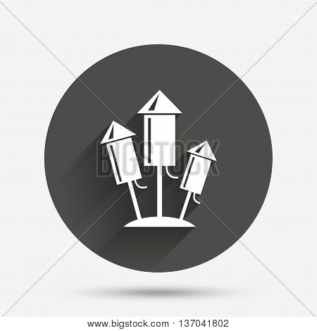 Fireworks rockets sign icon. Explosive pyrotechnic device symbol. Circle flat button with shadow. Vector