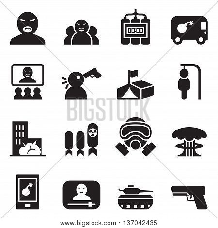 Terrorist killer Assassin Icons set  vector illustration graphic design