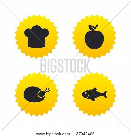 Food icons. Apple fruit with leaf symbol. Chicken hen bird meat sign. Fish and Chef hat icons. Yellow stars labels with flat icons. Vector