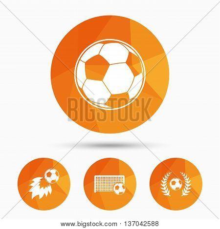 Football icons. Soccer ball sport sign. Goalkeeper gate symbol. Winner award laurel wreath. Goalscorer fireball. Triangular low poly buttons with shadow. Vector