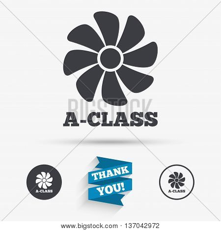 A-class ventilation icon. Energy efficiency sign symbol. Flat icons. Buttons with icons. Thank you ribbon. Vector