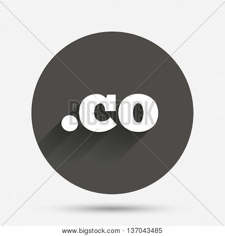 Domain CO sign icon. Top-level internet domain symbol. Circle flat button with shadow. Vector