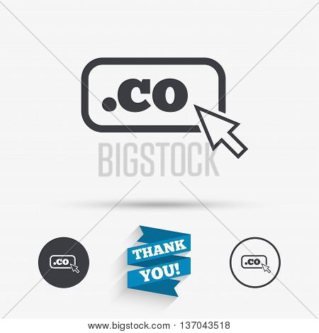 Domain CO sign icon. Top-level internet domain symbol with cursor pointer. Flat icons. Buttons with icons. Thank you ribbon. Vector