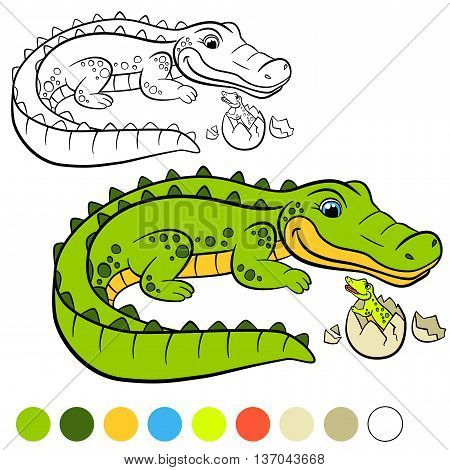 Coloring Page. Color Me: Alligator. Mother Alligator With Her Little Cute Baby Alligator.