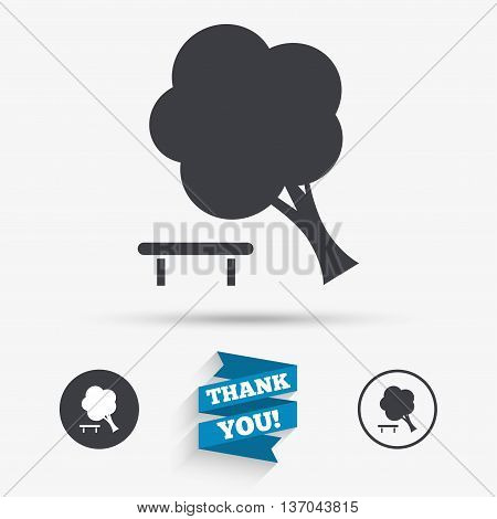 Falling tree sign icon. Caution break down tree symbol. Flat icons. Buttons with icons. Thank you ribbon. Vector