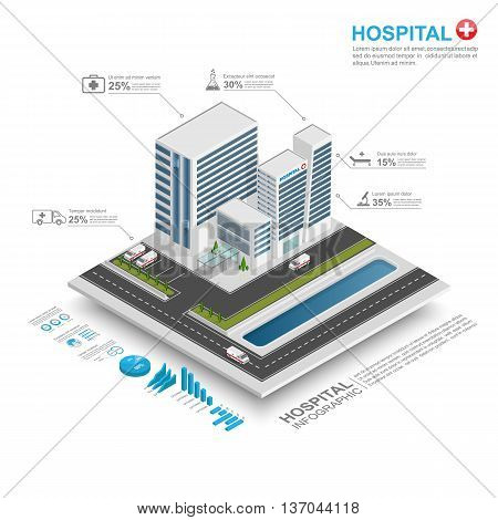 3d isometric Hospital infographic, Hospital Building. Vector