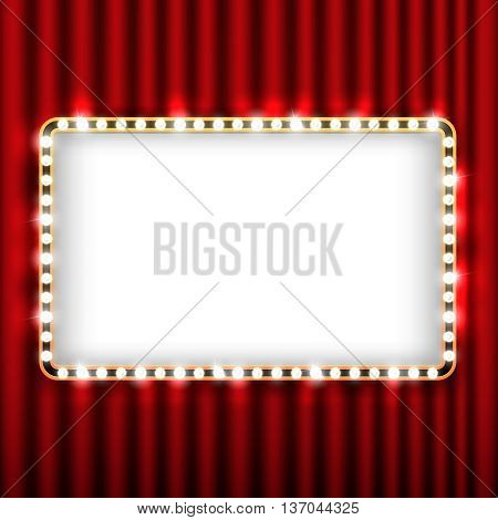 Theater scene with red curtain and sign with gold frame. Presentation banner with curtain for theater, illustration theater curtain