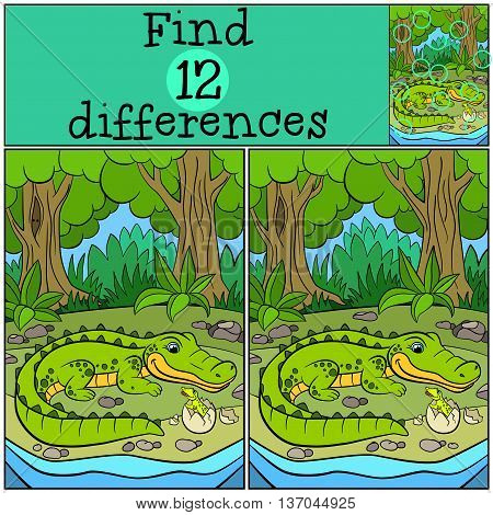 Children Games: Find Differences. Mother Alligator Looks At Her Liitle Cute Baby Alligator.
